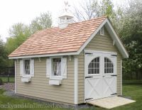 12x16 Garden Shed With 10 12 Roof Pitch Lap Siding Cedar Shake Roof Carriage House Barn Door Gable Backyard Structures Craftsman Sheds Carriage House Doors