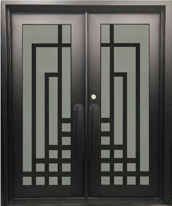 Plum Modern Double Entry Wrought Iron Doors Removable Bug Screen 72x96 Right Hand Iron Door Design Iron Entry Doors Wrought Iron Doors