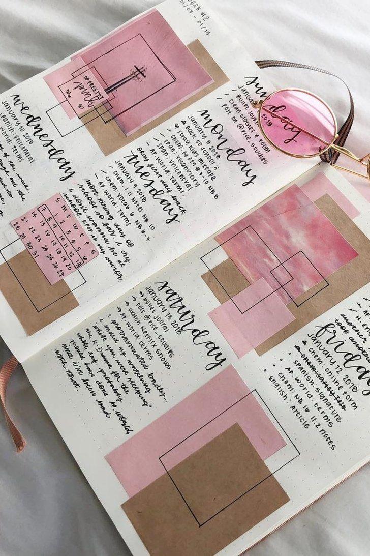 24 pretty bullet journals to inspire your own design kalender journal ideen und reisetagebuch - Decorar album de fotos por dentro ...