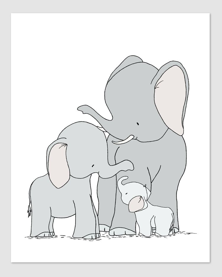 Elephants One Big Happy Family by Sweet Melody Designs