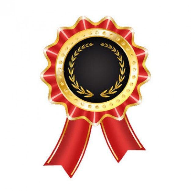Rounded Award Badge With Red Ribbon Badges Ribbons