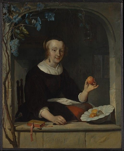 A Woman Seated at a Window Gabriël Metsu  (Dutch, Leiden 1629–1667 Amsterdam) Date: early 1660s Medium: Oil on wood Accession Number: 1982.60.32