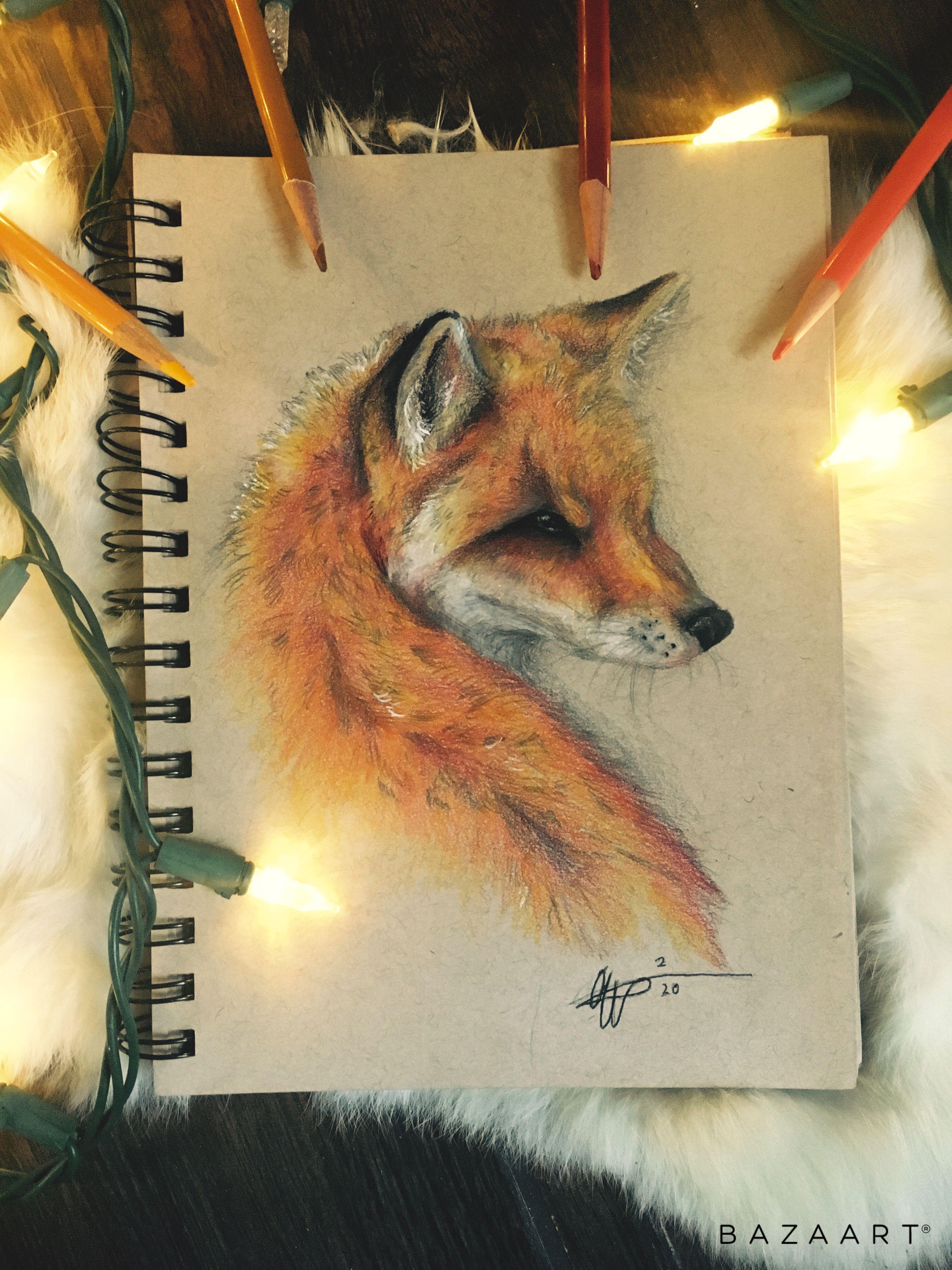 Fox pencil sketch 🧡 #fox #art #sketch #prismacolor #pencilart #foxdrawing