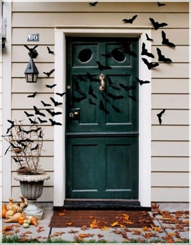 Magnificent Front Porch Decoration With Black Bats Halloween Door - door decoration halloween
