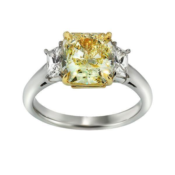 three stone yellow diamond engagement ring diamond