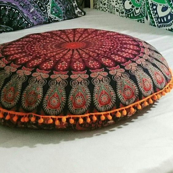 2 PC Hippie Floor Pillow Round Sun Cushion Cover Ethnic Ottoman Poufs Decorative