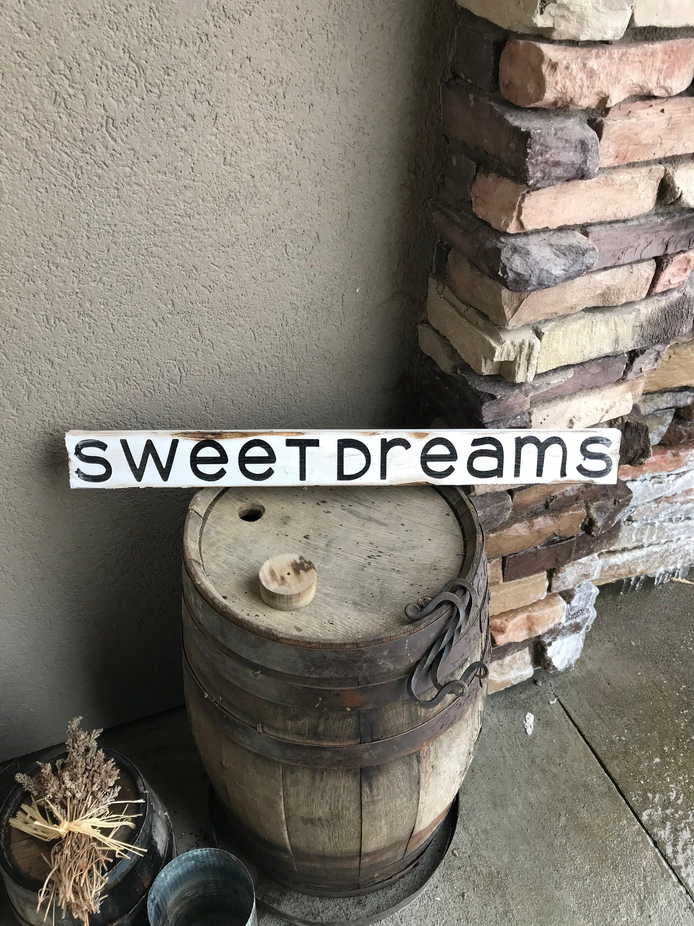 Sweet Dreams Rustic Lodge Home Decor Wood Sign Handmade Wood Signs