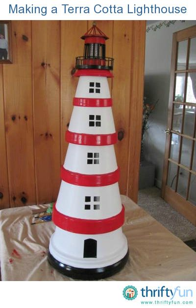 making a terra cotta lighthouse pinterest leuchturm. Black Bedroom Furniture Sets. Home Design Ideas