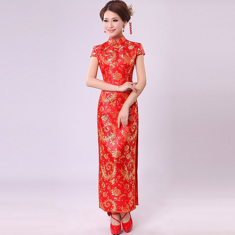 Chinese traditional dress 2015 summer style wedding for Chinese style wedding dress