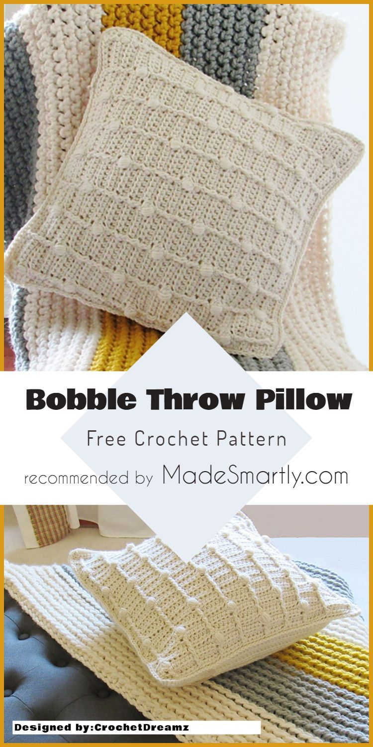 Easy Ideas for Decorating Your Home With This Crochet Throw Pillows Patterns Bobble Throw Pillow - Free Pattern #crochet #throwpillow #homedecorideas #freecrochetpattern #diy  #Ideas #for #Decorating #Your #Home