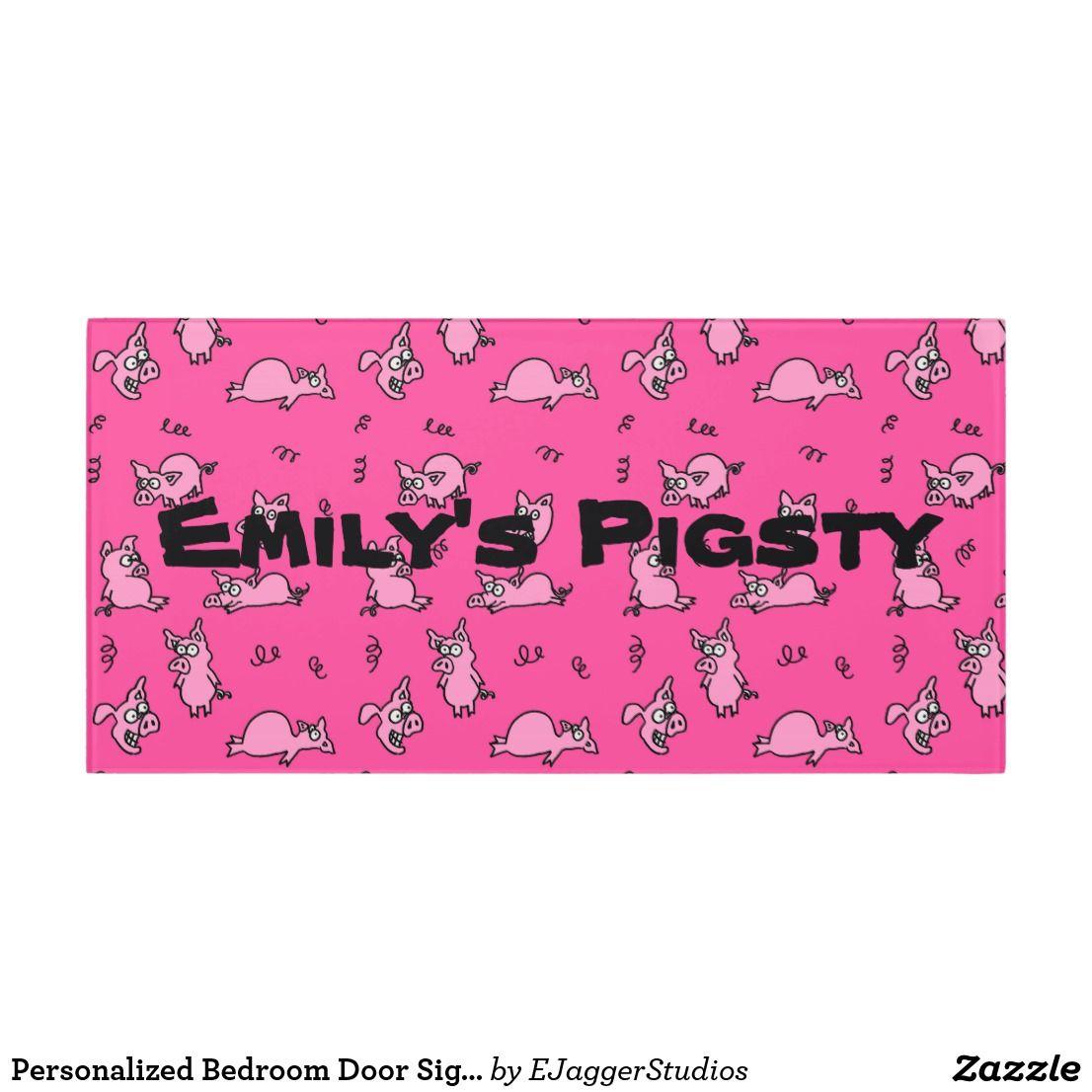 Personalized Bedroom Door Sign Pigsty | Zazzle.co.uk ...
