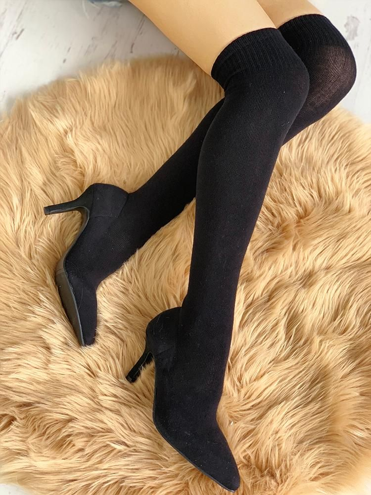 1928ce8371 Pointed Toe Over The Knee Thin Heeled Sock Boots fall fashion trends  2018,fall fashion trends Street Style,fall fashion trends Casual,fall  fashion trends ...