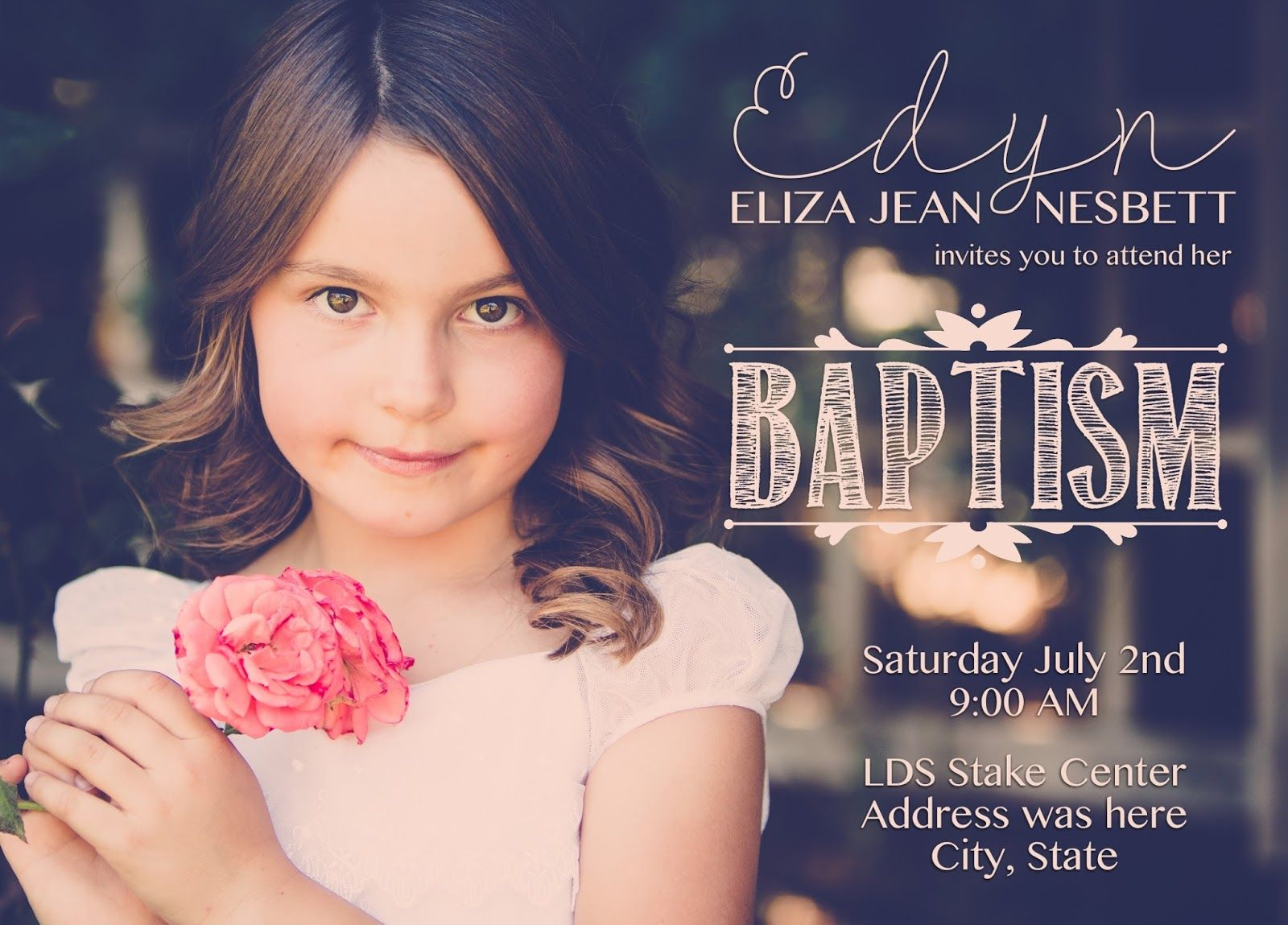 What 5 Teach Me: LDS Girl Baptism Invitation | Camille Creates ...