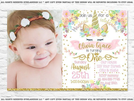 Printable Unicorn First Birthday Party Invitation