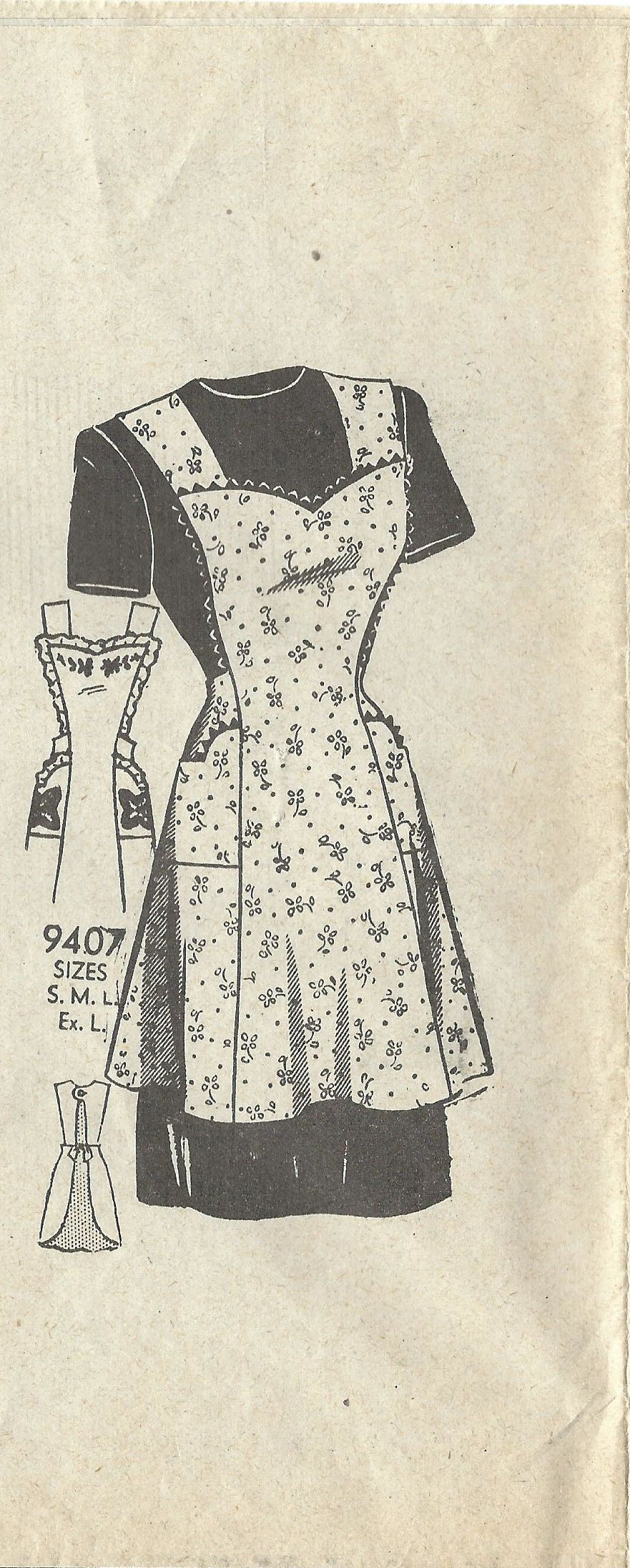 1940s Mail Order 9407 Vintage Sewing Pattern Misses Full Apron, Bib ...