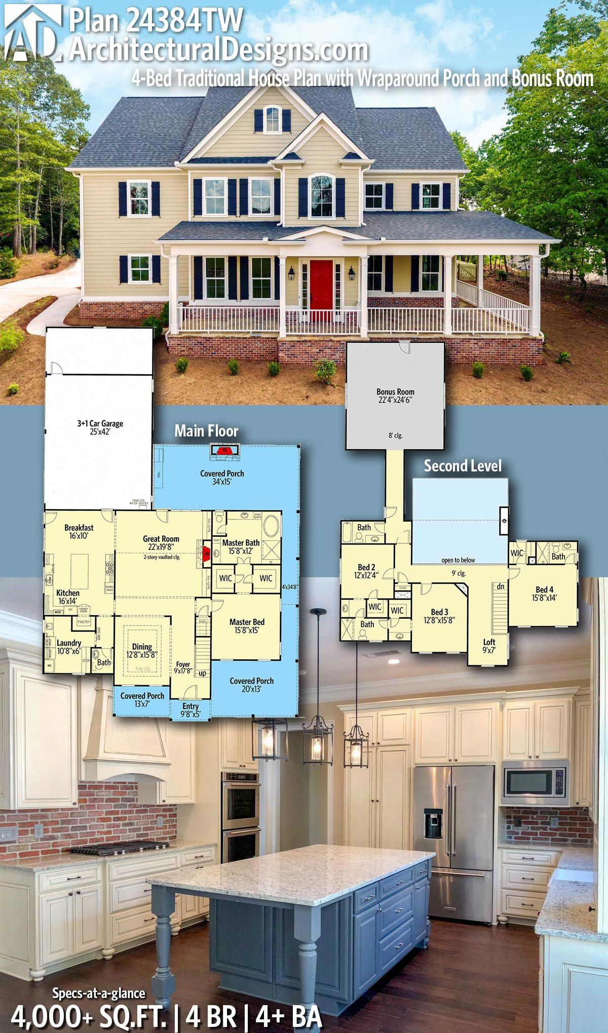 Introducing Architectural Designs Traditional House Plan 24384TW with 4 Bedrooms | 4 full baths and 1 half bath in just over 4,000+ Sq Ft. with a finished walkout #basement. Ready when you are! Where do YOU want to build? #24384TW #adhouseplans #architecturaldesigns #houseplans #architecture #newhome #newconstruction #newhouse #homedesign  #homeplans #architecture #home #traditional #traditionalhome #homesweethome