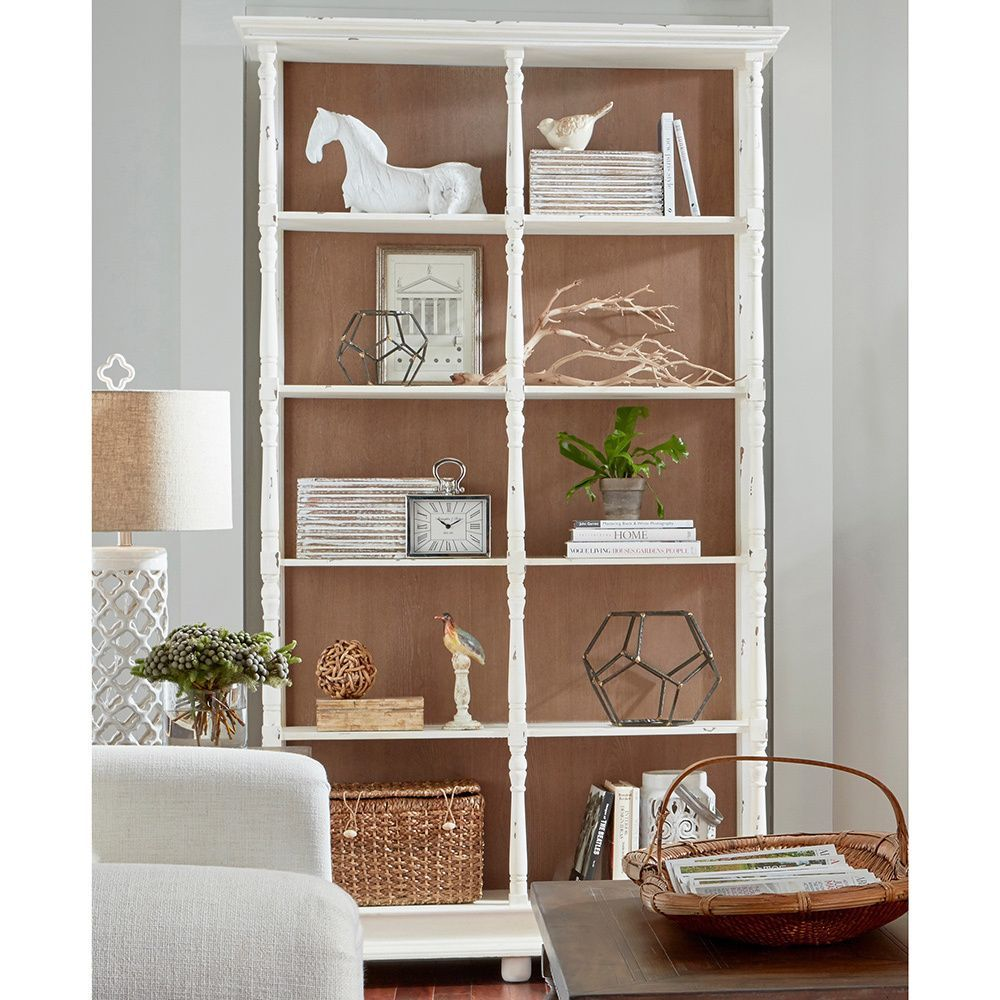 Elk Lighting Whitney Distressed White Bookcase Five Shelf