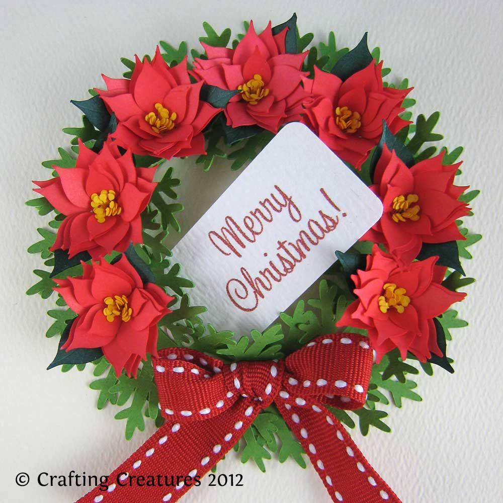 Paper poinsettia and wreath poinsettia wreath poinsettia and wreaths christmas cards with poinsettias on them google search mightylinksfo