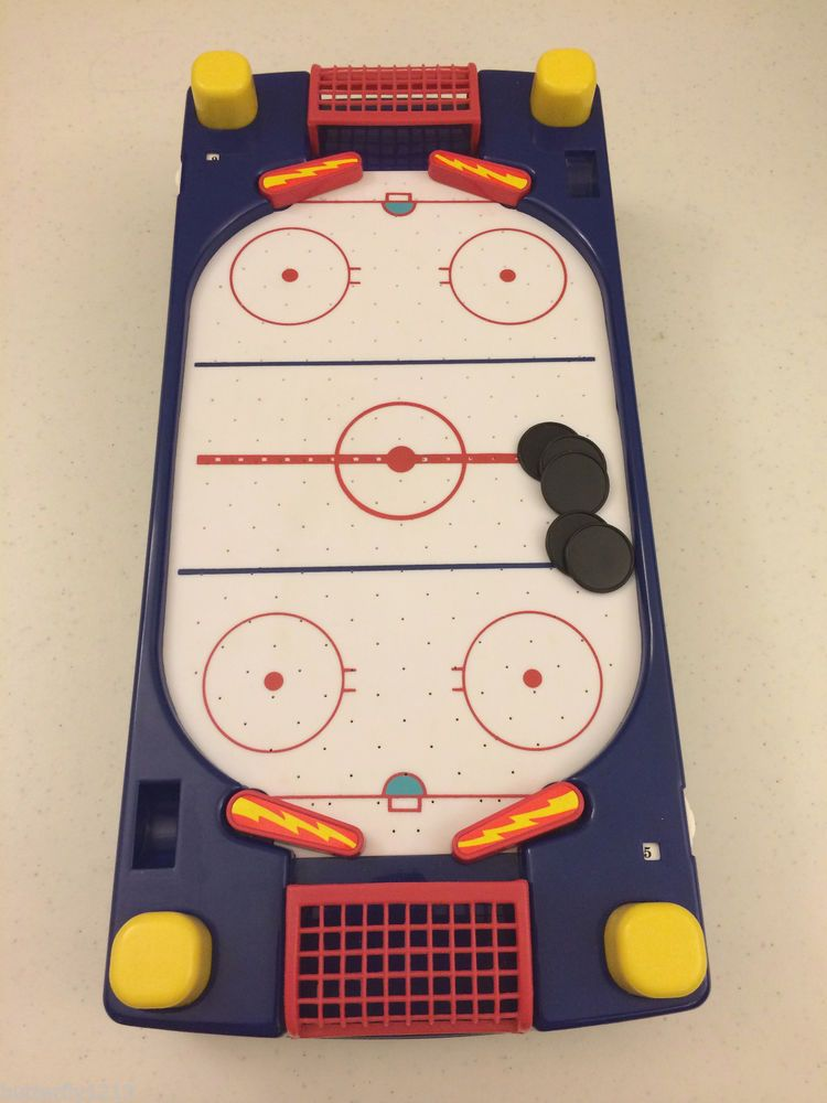 SLAPSHOT MINI TABLETOP AIR HOCKEY GAME 15 X 7 BATTERY OPERATED EUC #SLAPSHOT