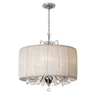Joshua marshal home collection chic 5 light crystal chandelier chic 5 light crystal chandelier with oyster pleated drum shade overstock shopping mozeypictures Choice Image