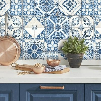 Mediterranian Tile Peel & Stick Wallpaper Blue RoomMates