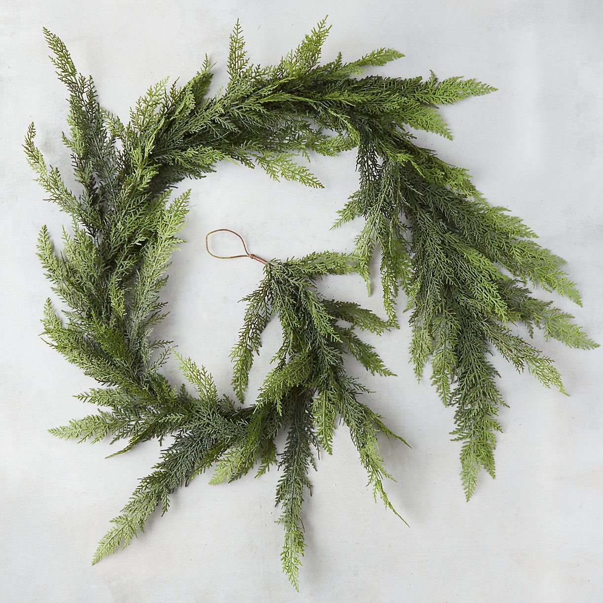Handcrafted Farmhouse Winter Garland-Winter Table Garland-Hand Wrapped Ornament-Blue Evergreen Winter Garland-Faux Fireplace Garland-Lights
