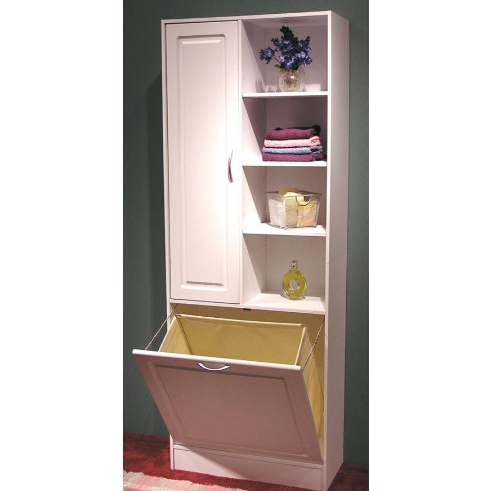 Corner Linen Cabinet With Hamper