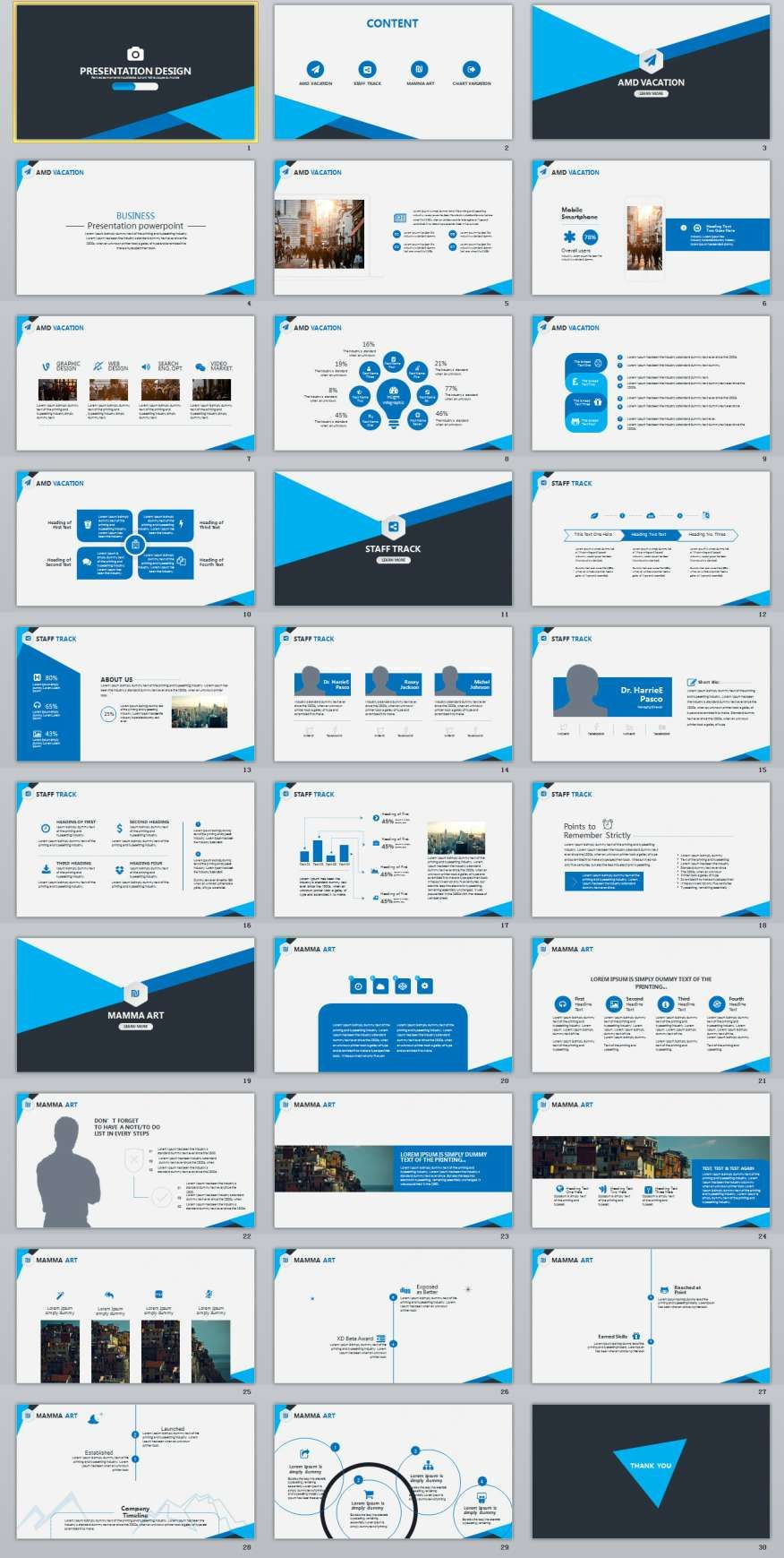 30 blue business report powerpoint template design presentation