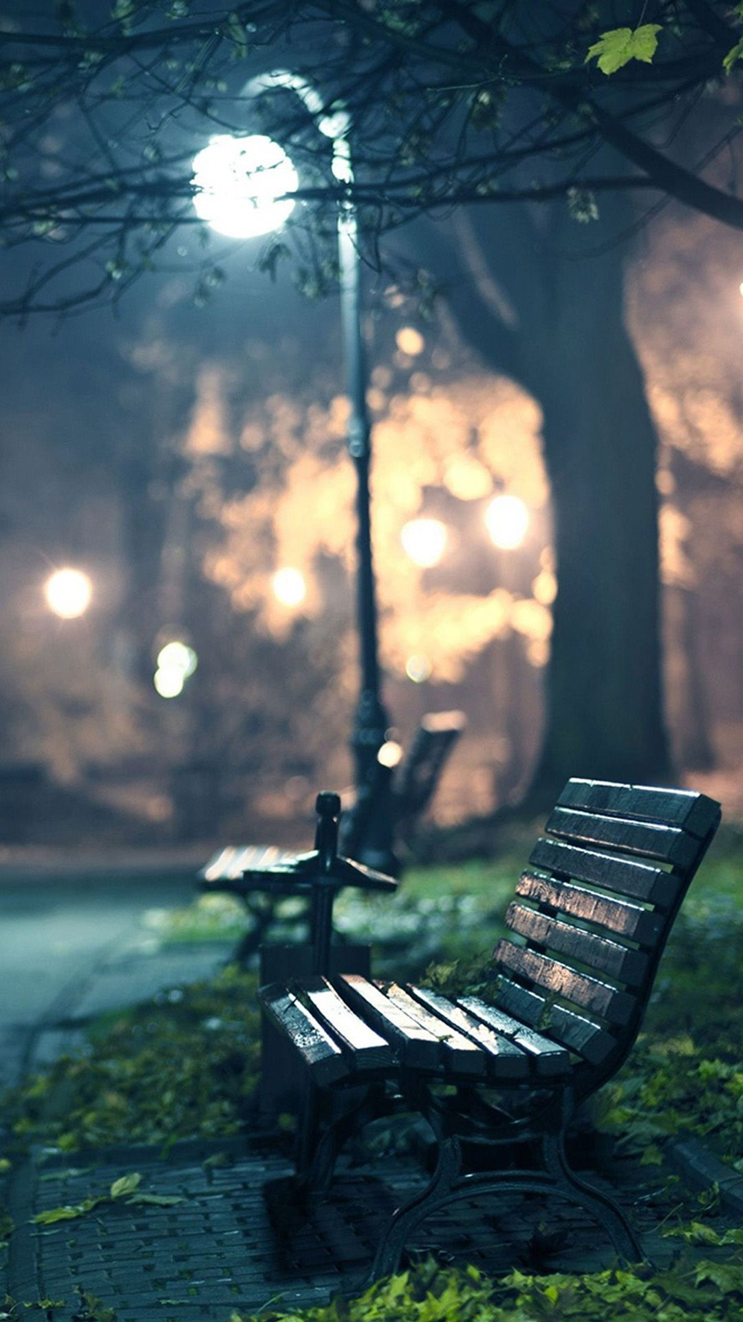Benches in the night tap to see more iphone wallpapers