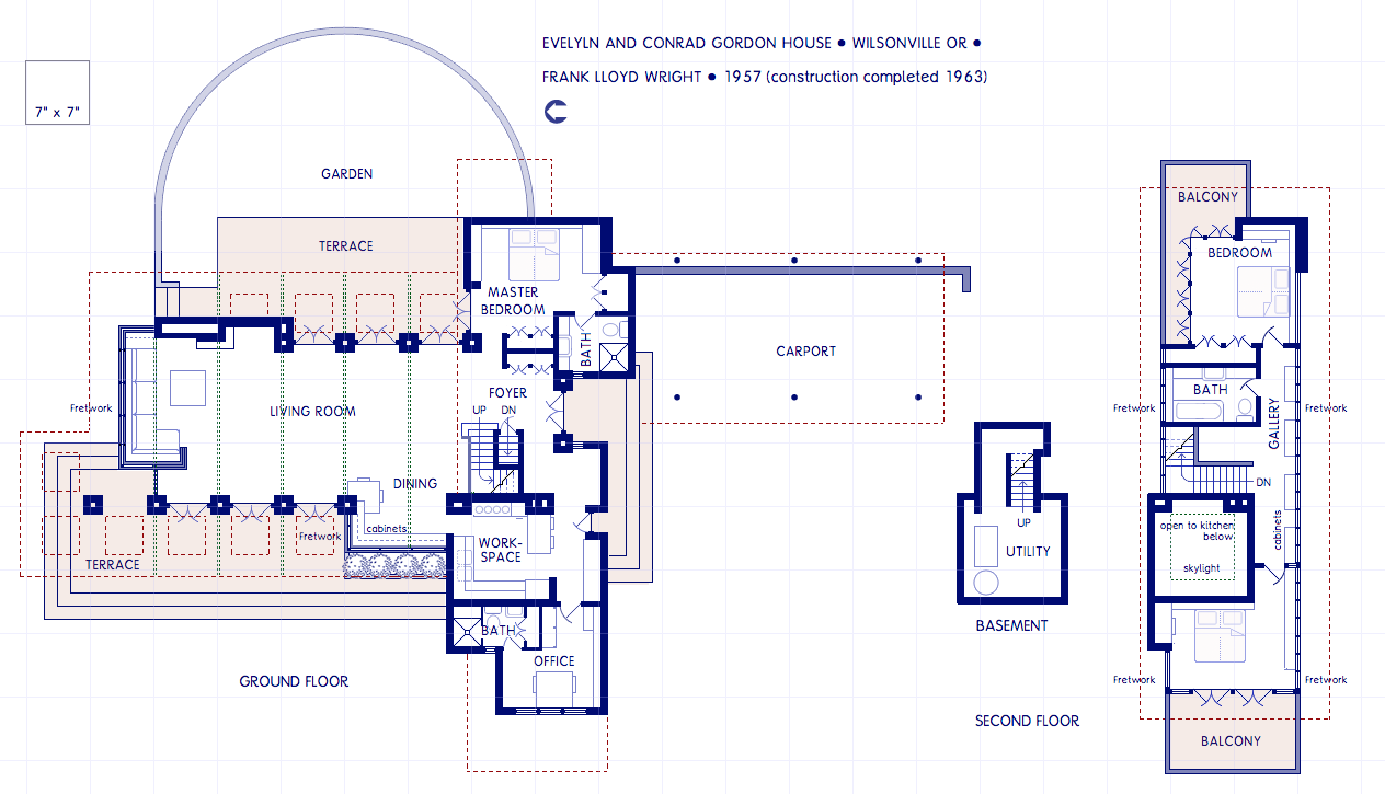 Floor Plan Of Penfield House Designed By Frank Lloyd Wright ...
