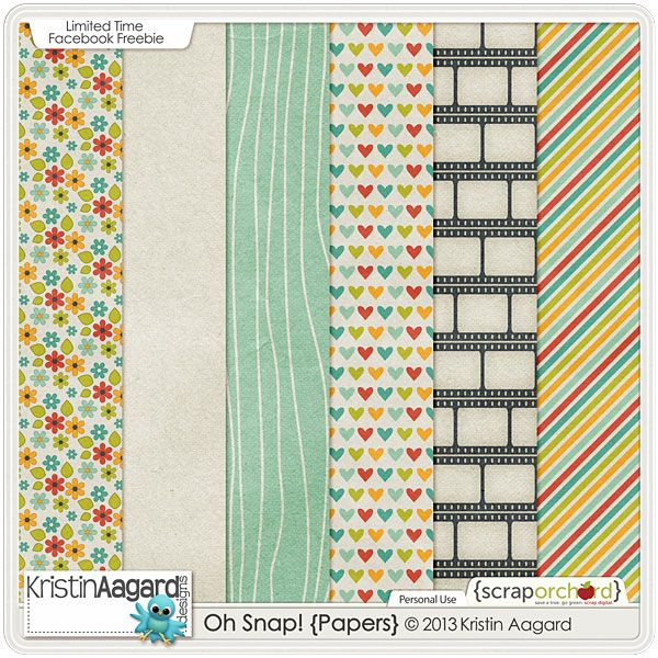 FREE Oh Snap! paper pack freebie from Kristin Aagard