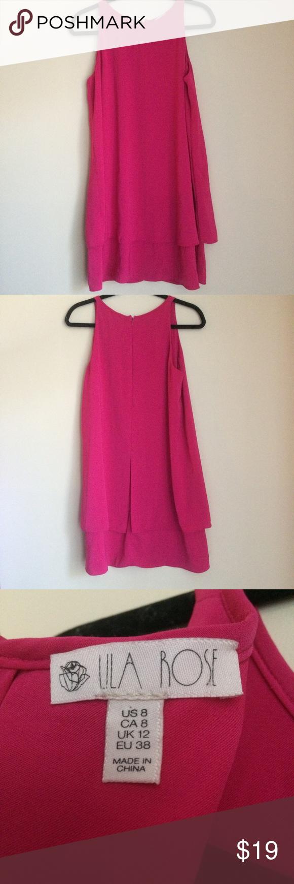 Bright pink dress for wedding guest  Lila Rose Bright Pink Layered Sleeveless Dress  My Posh Picks