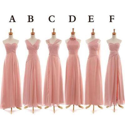 Long Chiffon Bridesmaid Dresses,Pink Custom Bridesmaid Dresses,Cheap Bridesmaid Dresses