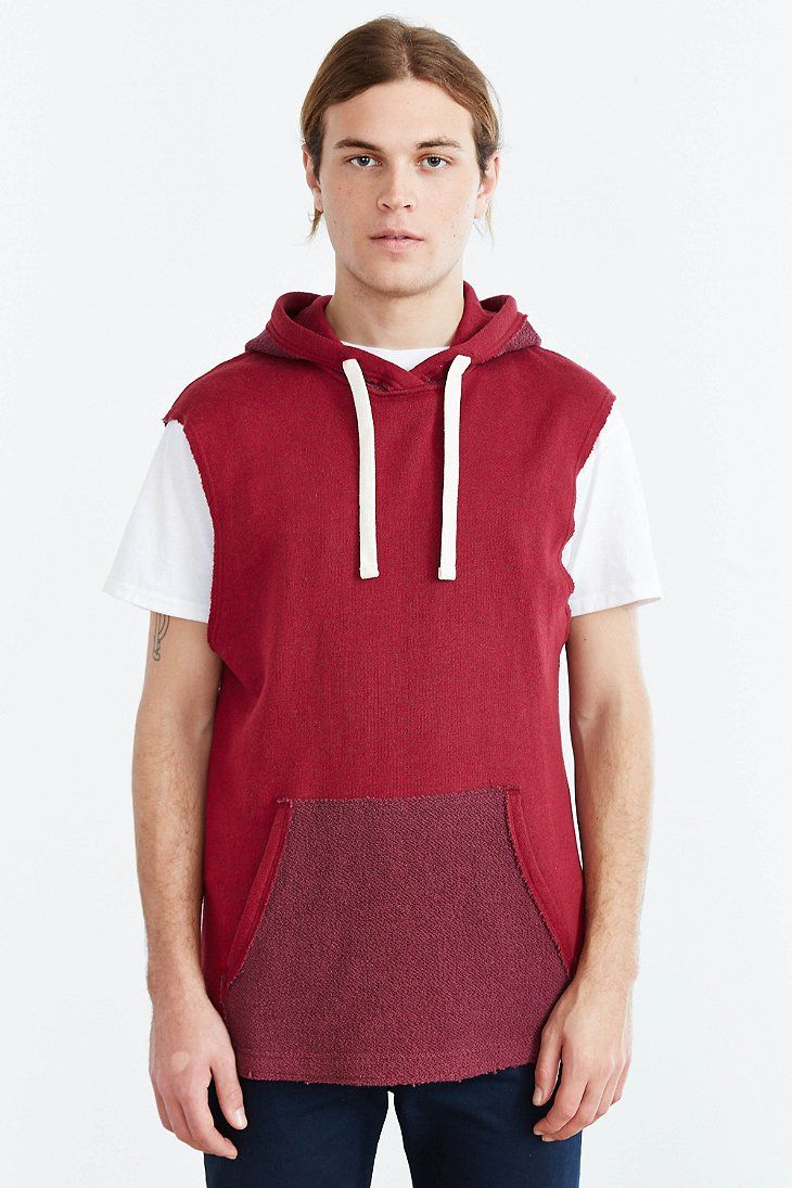 BDG Sleeveless Raw Edge Hooded Sweatshirt