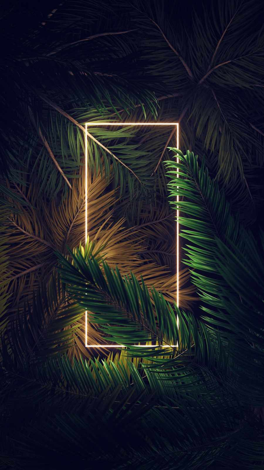 Neon Square Light In Foliage - IPhone Wallpapers