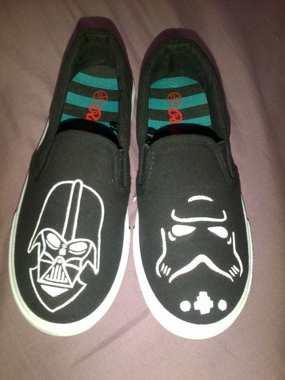 8d83384b7ddd3b Star Wars Inspired Kids shoes featuring Darth Vader and a Storm Trooper.