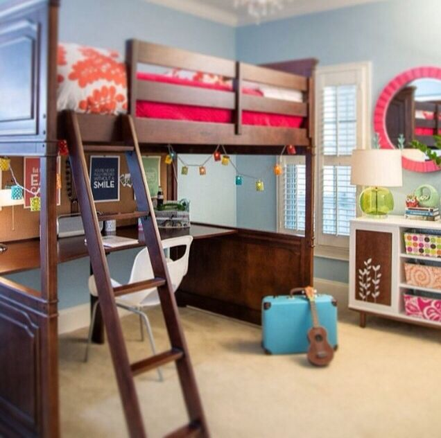 High Rise Bed With Nook Blue Bedroom Walls Girl Room Blue Girls Rooms