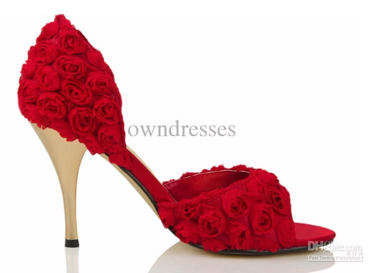 Freeshipping Wholesale Elegant Red Rose Slik low Heels Bridal ...