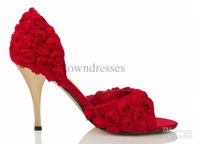 Freeshipping Wholesale Elegant Red Rose Slik low Heels Bridal ...