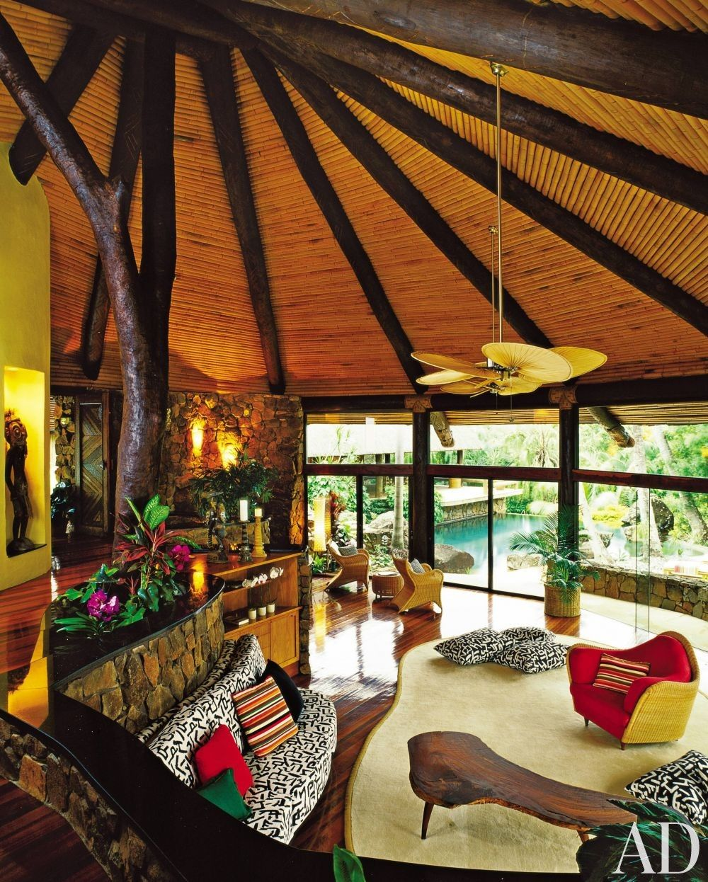 Exotic Living Room by Pamela Mathieson Croci and Roger Parkin in Hamilton Island, Australia