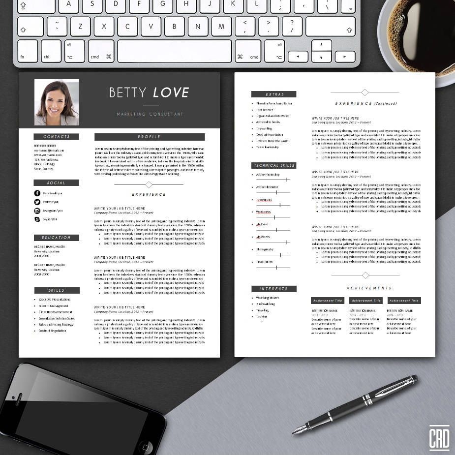 Resume Template with Cover Letter Instant Download