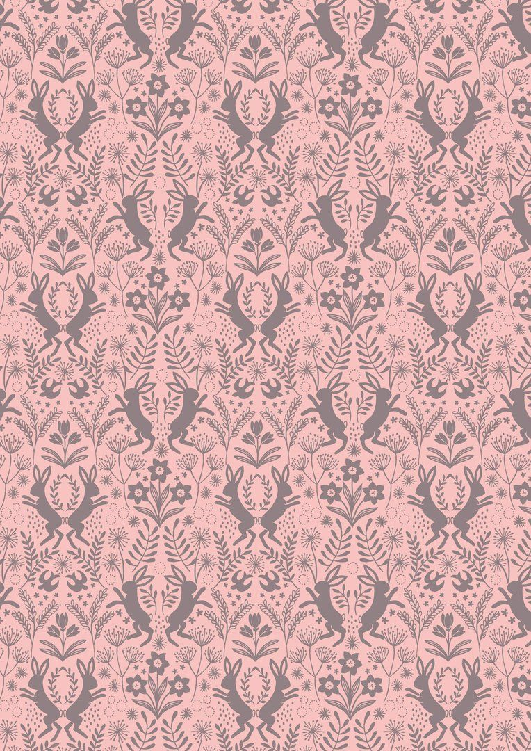 LITTLE RABBIT Fabric LEW75 Pink - 1 METRE - Spring Hare by Lewis & Irene - 100% Cotton - 1 Metre - Little Hares Floral Flowers in Brown on Pink Background Fabric