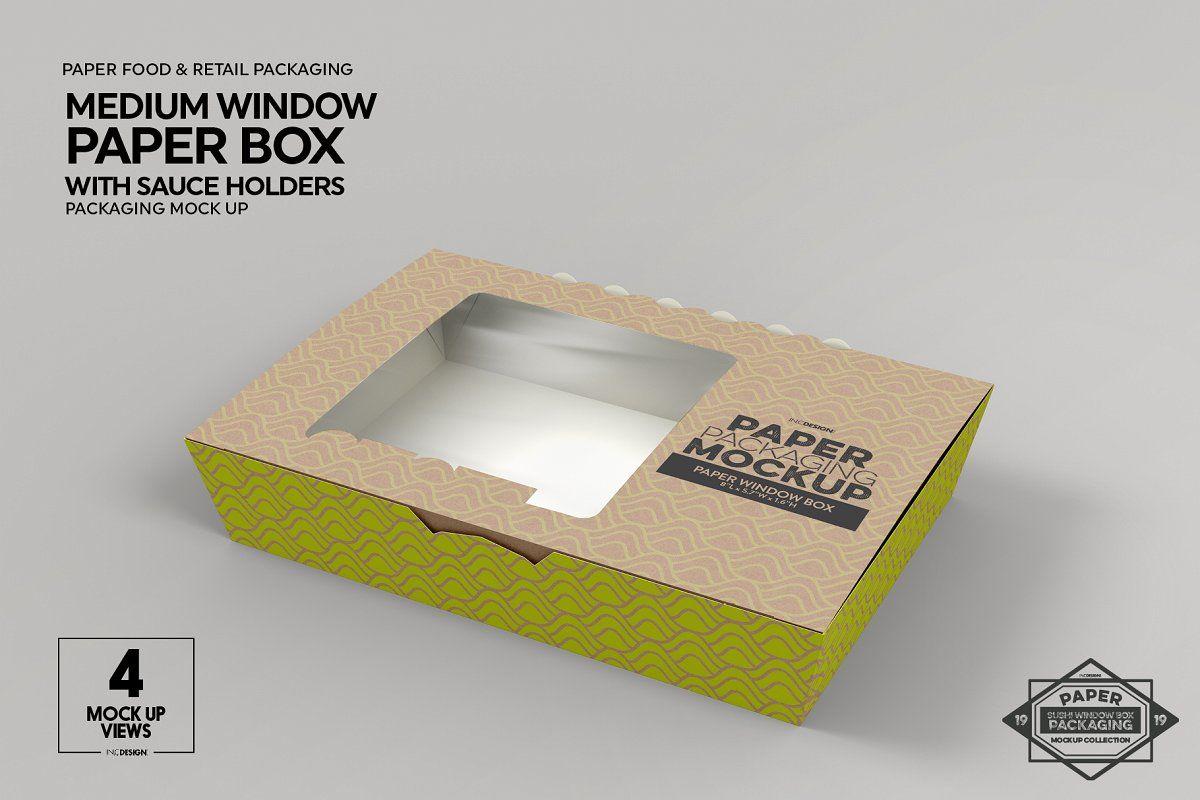 Download Paper Window Sushi Box Medium Mockup Packaging Template Free Packaging Mockup Packaging Mockup