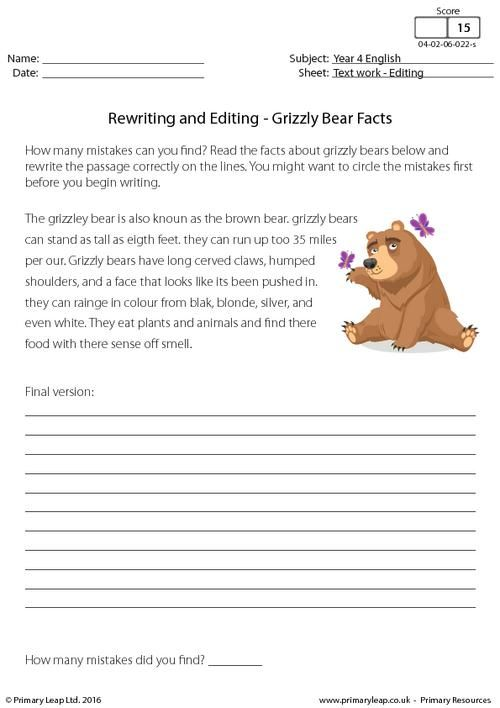 rewriting and editing grizzly bear facts worksheet english grizzly. Black Bedroom Furniture Sets. Home Design Ideas