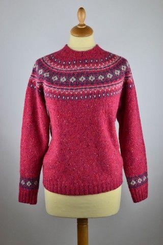 Ladies Yoke Fair isle Jumper. Vibrant pink Donegal wool. | Fair ...