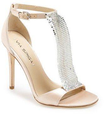 Women's Via Spiga 'Timone' Satin T-Strap Sandal, Size
