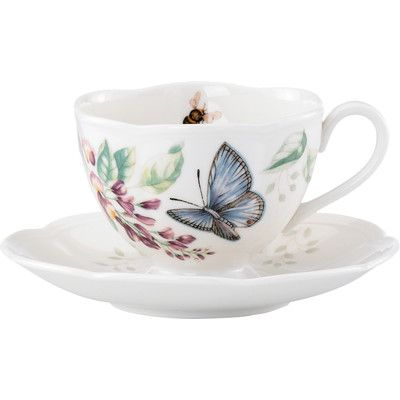 Lenox Butterfly Meadow 8 Oz. Butterfly Cup and Saucer (Set of 4)