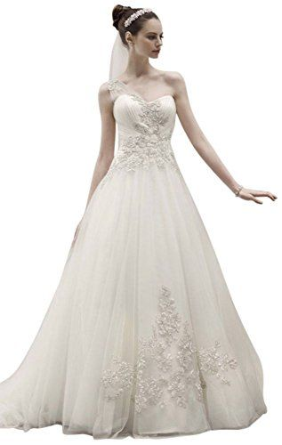 8d30835fa6a5 SAMPLE One Shoulder Tulle Ball Gown Wedding Dress with Lace Appliques Style  >>> You can get additional details at the image link.