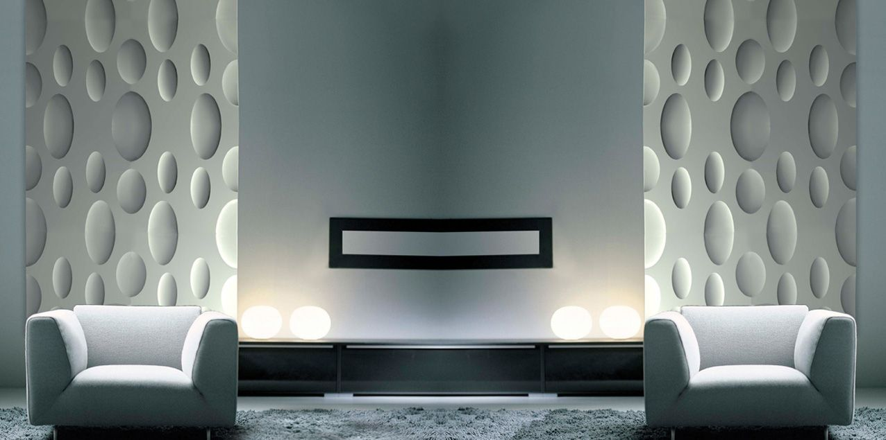 Ellipse 60x60cm gips plaster wandpaneel wall panel for Gips decor images