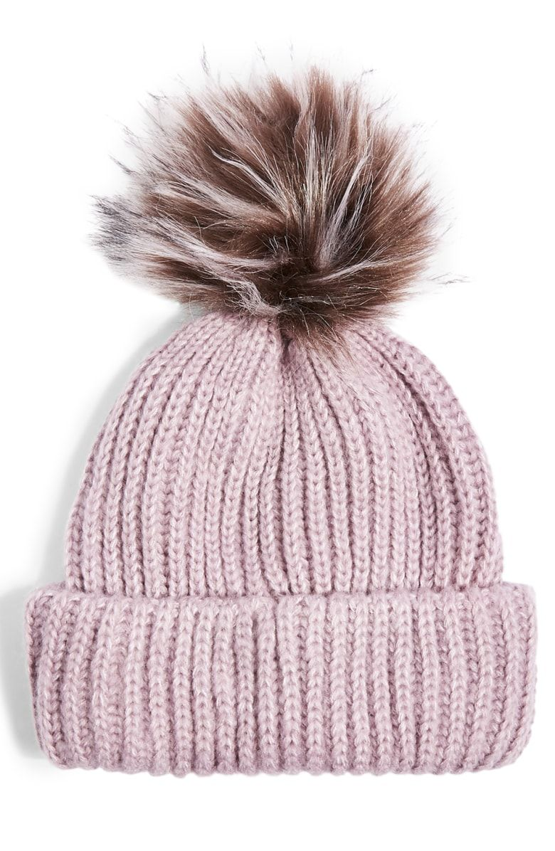 Free shipping and returns on Topshop Faux Fur Pompom Beanie at Nordstrom.com.  Keep your head toasty warm in this cute beanie in a thick ribbed knit ... eac3bcbe864